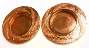 彫金 銅 襖のひき手 ルビー3ピース