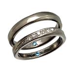 チタンマリッジリング ダイヤモンド 結婚指輪