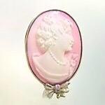 シェルカメオブローチ リフォーム かわいい ピンク イタリア