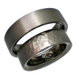 平行台の形の厚い目のチタンマリッジリング