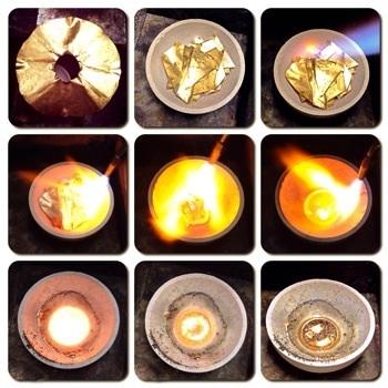 純金熔解過程