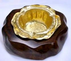 鍛金 鍛造 純金灰皿 ゴールド ハンドメイド