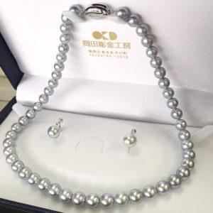 アコヤ真珠ネックレスとイヤリングのセット