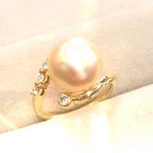 ゴールデンパールリング 南洋真珠