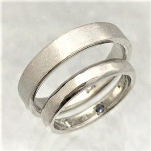 プラチナ結婚指輪 ダイヤモンド アクアマリン