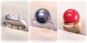 ダイヤモンドとタヒチ真珠と赤珊瑚の指輪