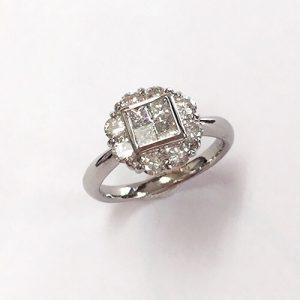 プラチナ ミステリーセッティング ダイヤモンドリング
