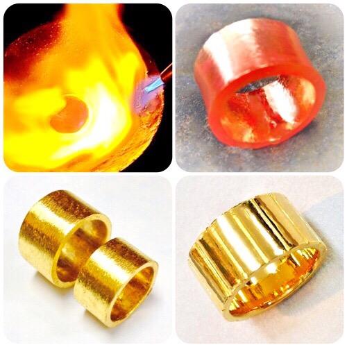 純金熔解リング制作