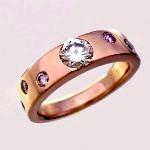 ハンドメイド ピンクゴールド ダイヤモンドリング
