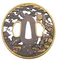 鉄鐔に純金を覆輪